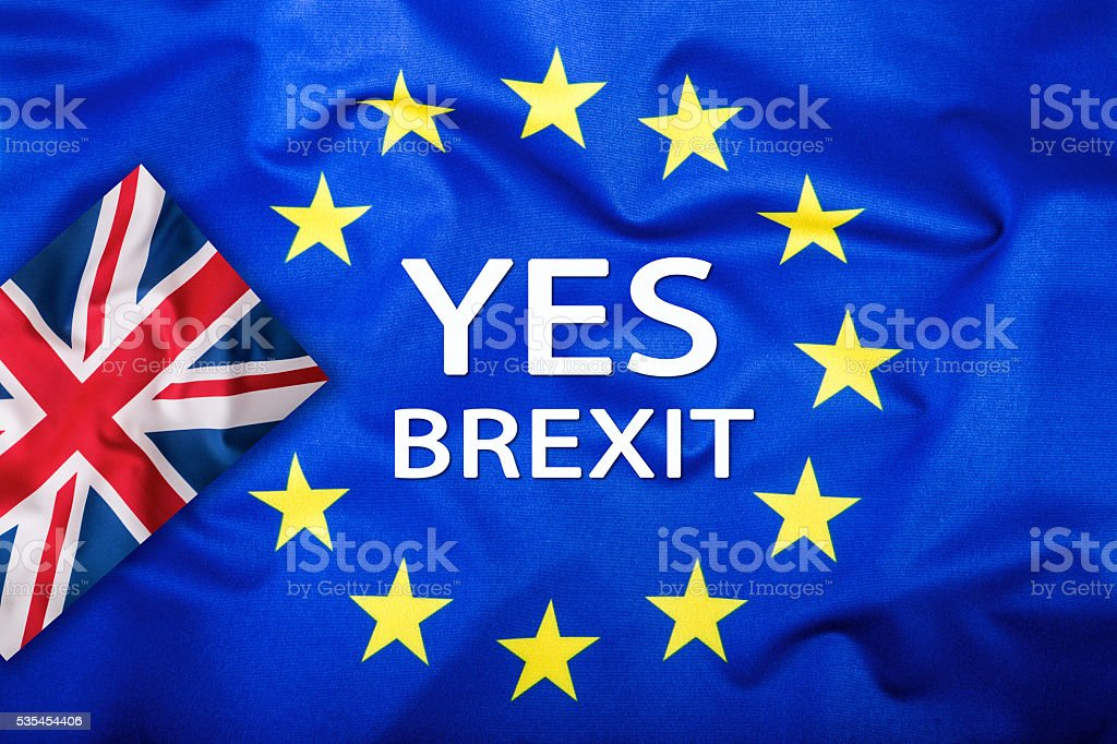 Brexit.Flags of the United Kingdom and the European Union. stock photo