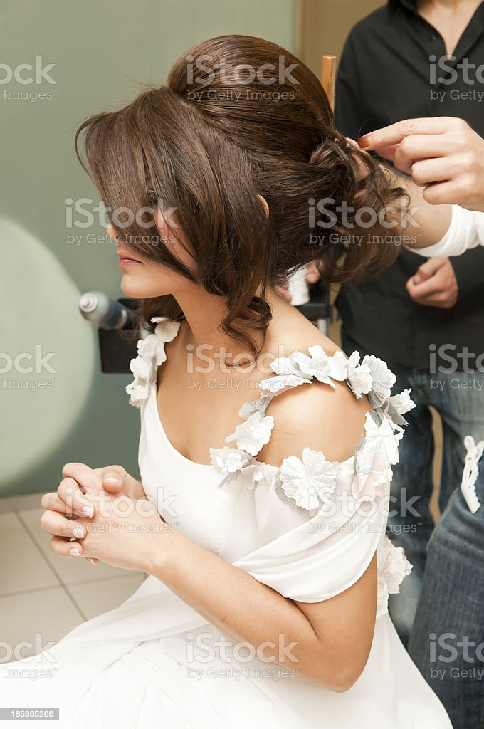 Brial Hair Style at Salon stock photo