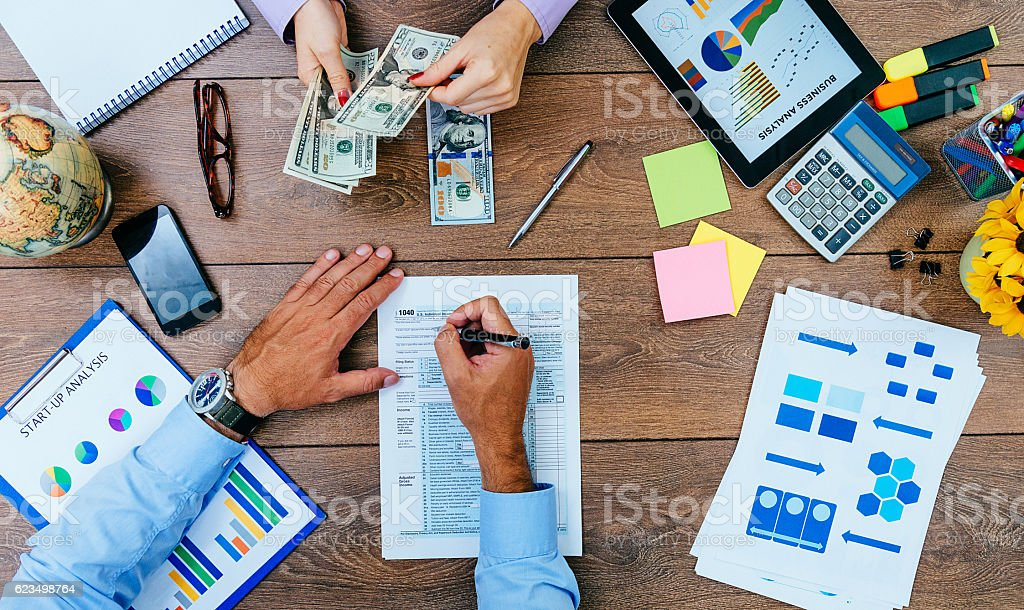 Bribe and corruption in business stock photo