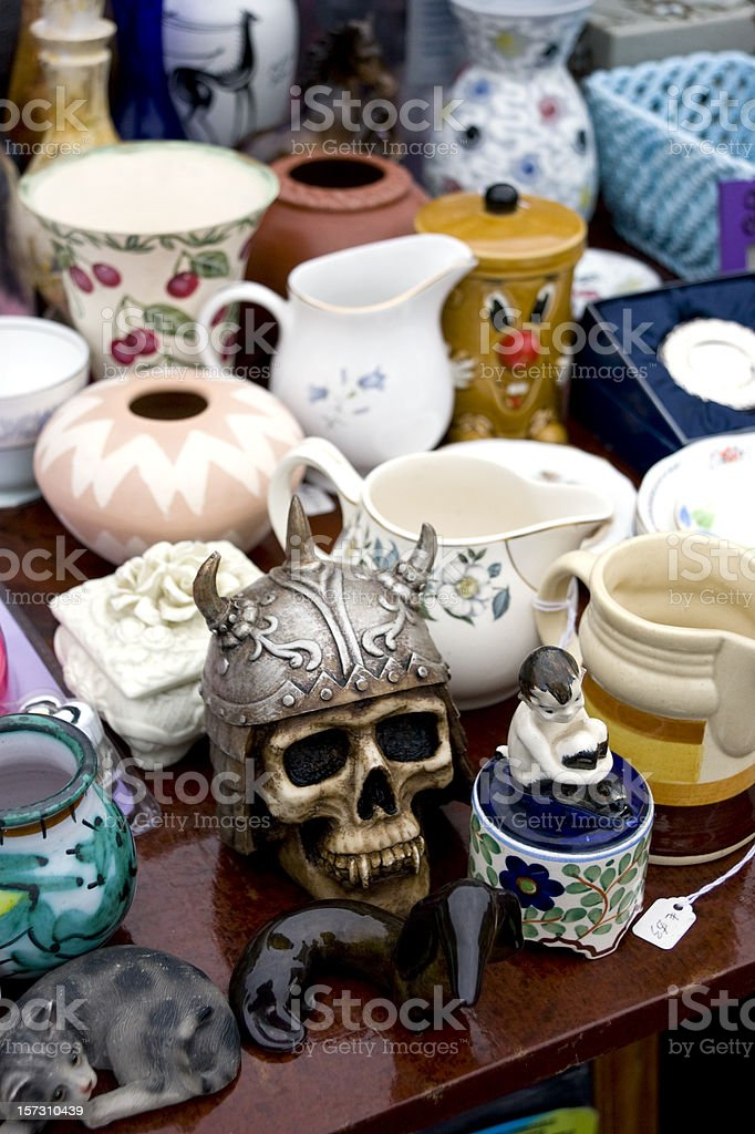 Bric-a-brac stall at a market stock photo