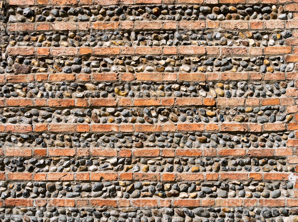 Brick and flint ornamental wall in Suffolk stock photo