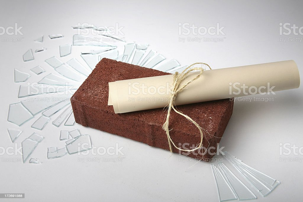 Brick and Note through Glass royalty-free stock photo