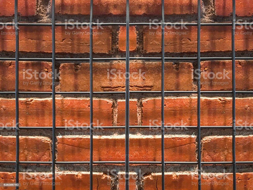 Brick and rusty iron textured stock photo