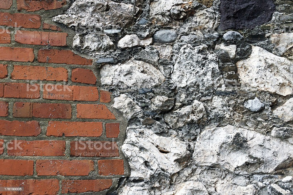 Muro di mattoni e pietra foto stock royalty-free