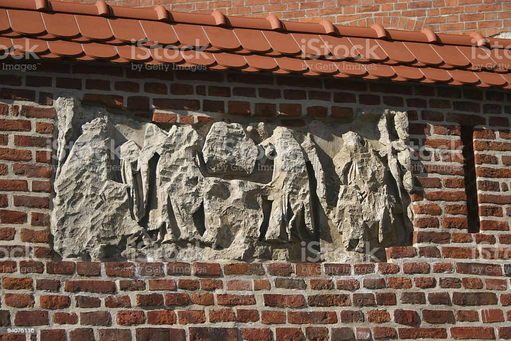 Brick and stone wall stock photo