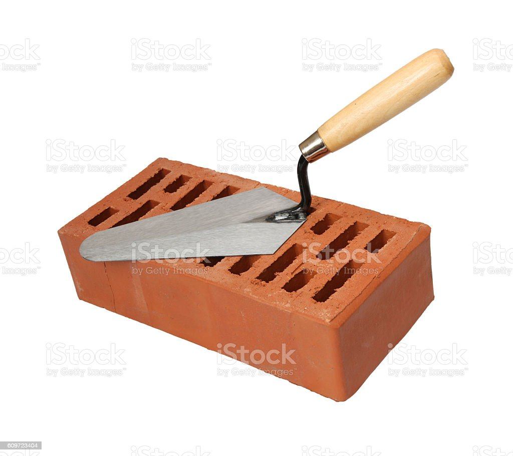 Brick and trowel stock photo