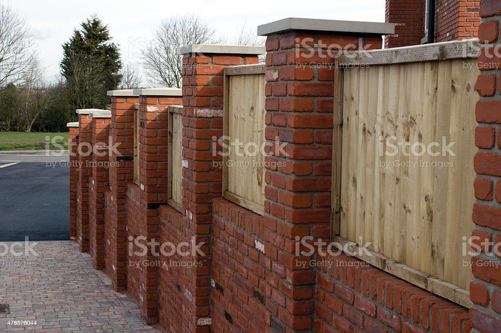 Brick and Wood Panel Wall stock photo