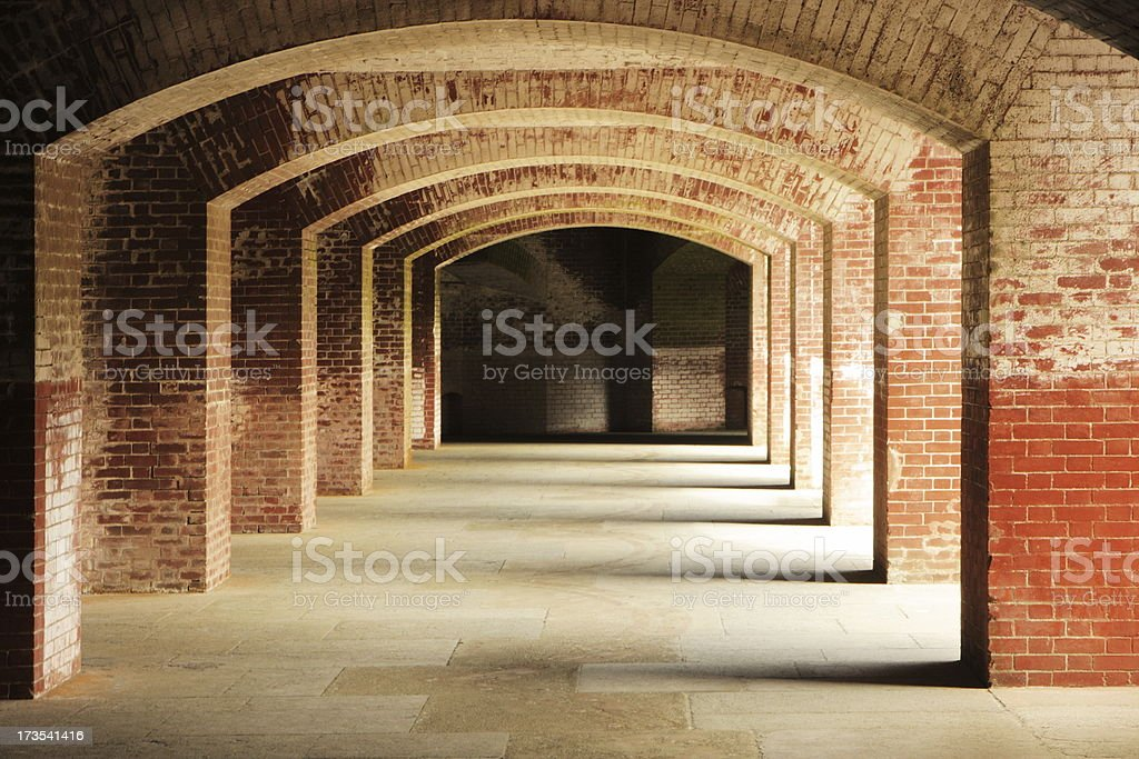 Brick Arch Pattern Historic Fort Point royalty-free stock photo
