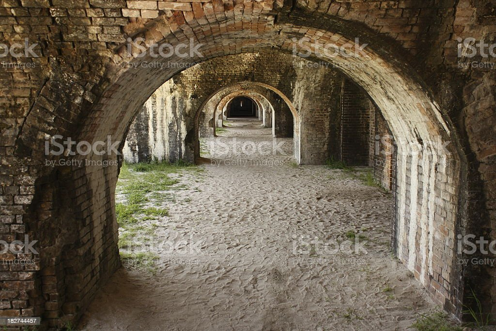 Brick Arches on Sand royalty-free stock photo