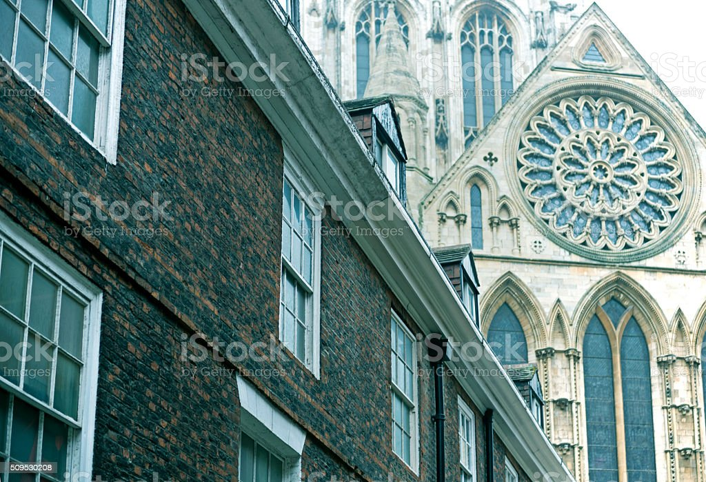 Brick building and Minster facade in York England stock photo