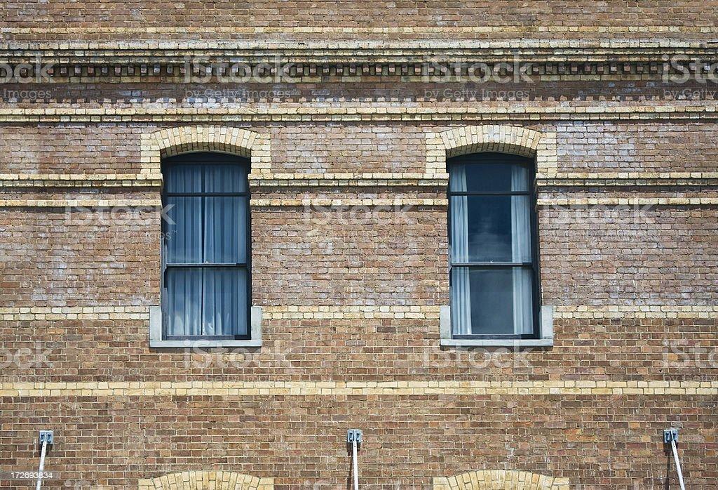 Brick building windows royalty-free stock photo