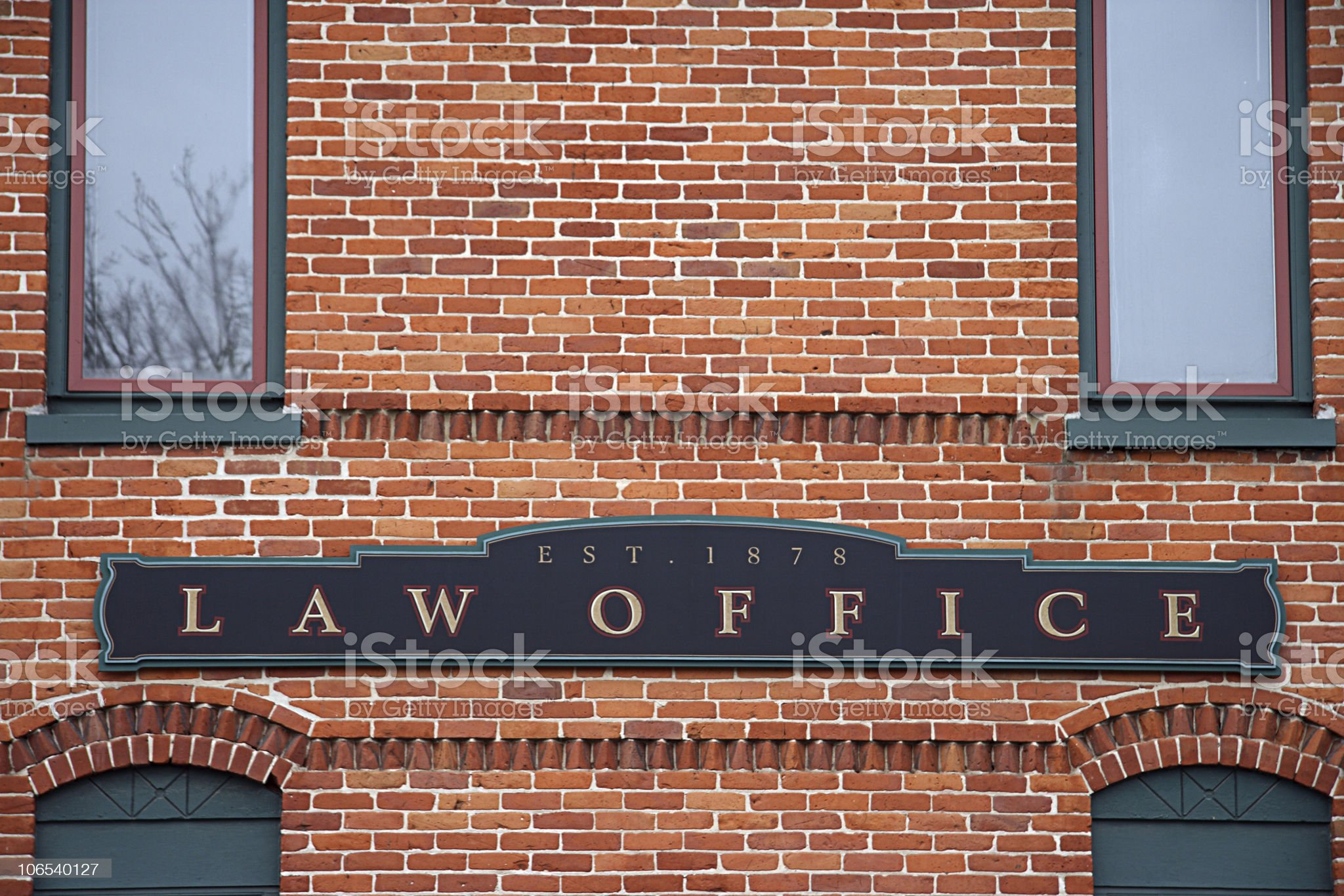 Brick building with a law office sign royalty-free stock photo