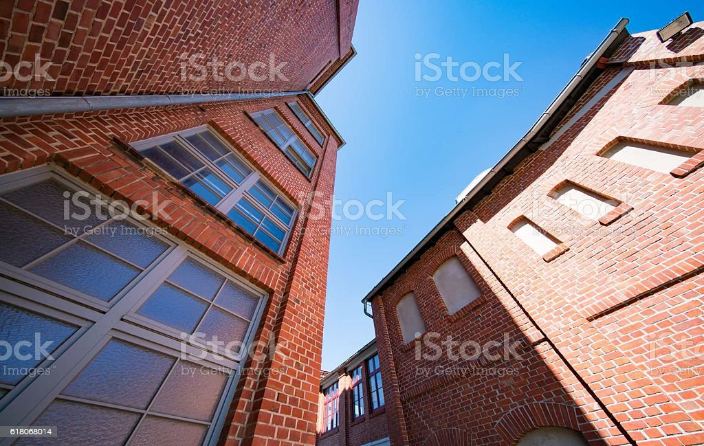 brick buildings top view stock photo