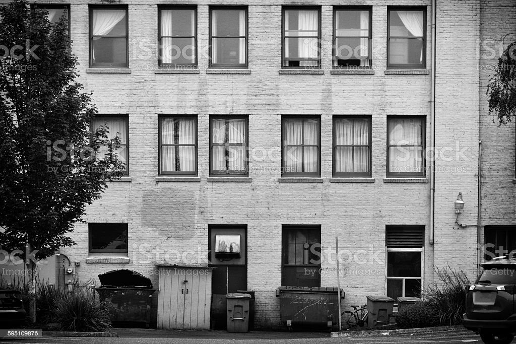 Brick Bulding in an Alley stock photo