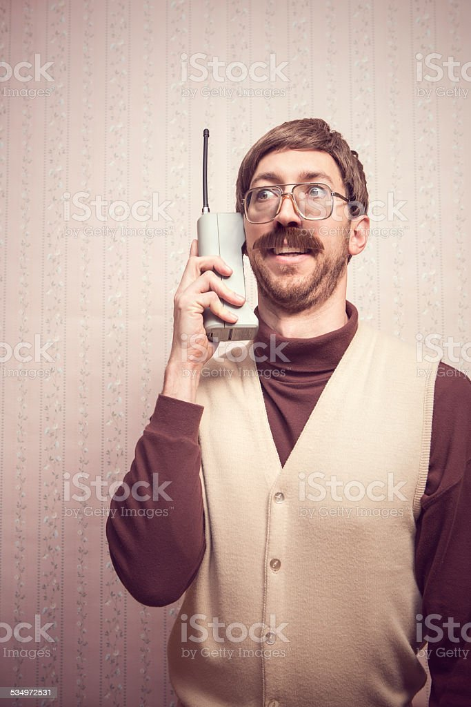 Brick Cell Phone Man stock photo