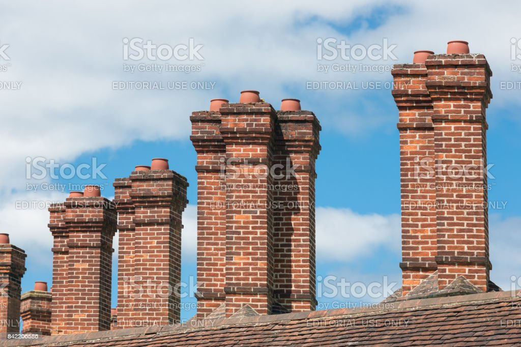 Brick chimney at buildings near Windsor Castle in England stock photo