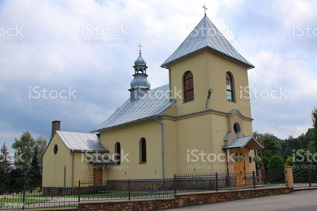 Brick church in Myczkowie near Polańczyk (Poland, Podkarpackie Province). stock photo