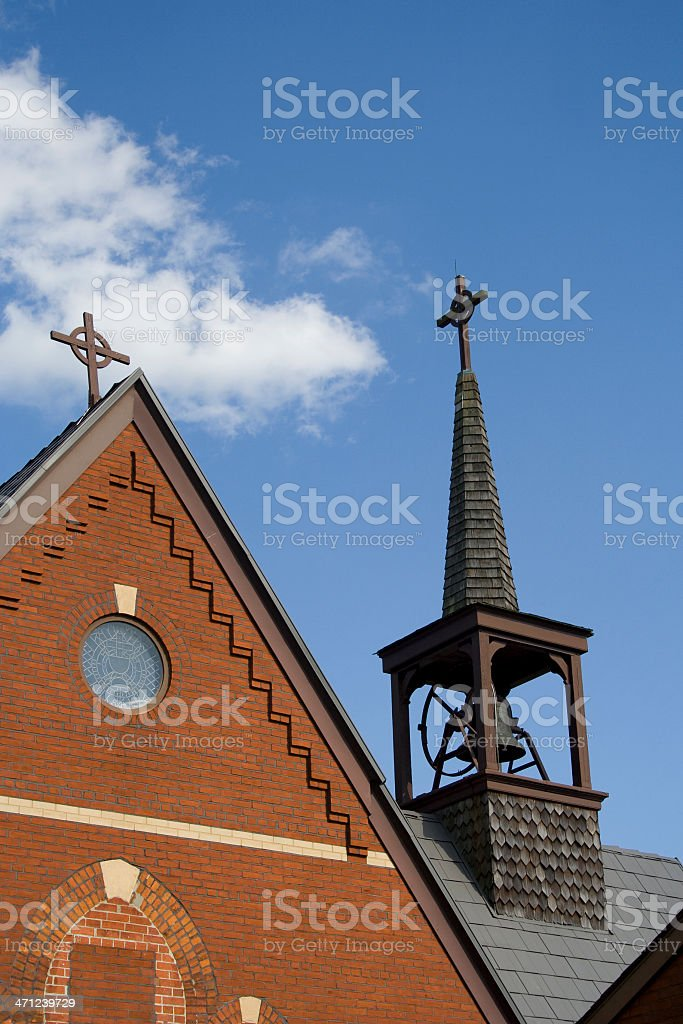 Brick Church, Two Crosses and Bell Tower stock photo