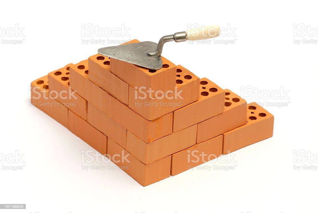Brick corner with trowel royalty-free stock photo