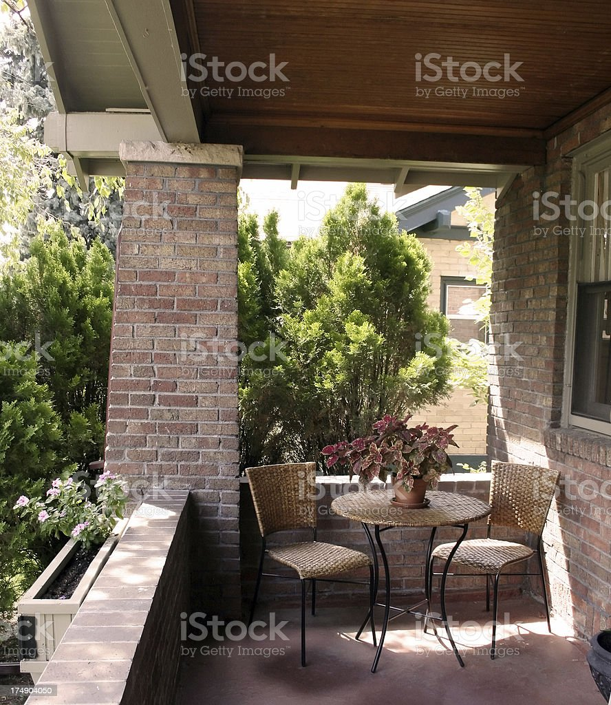 Brick Covered Residential Porch stock photo
