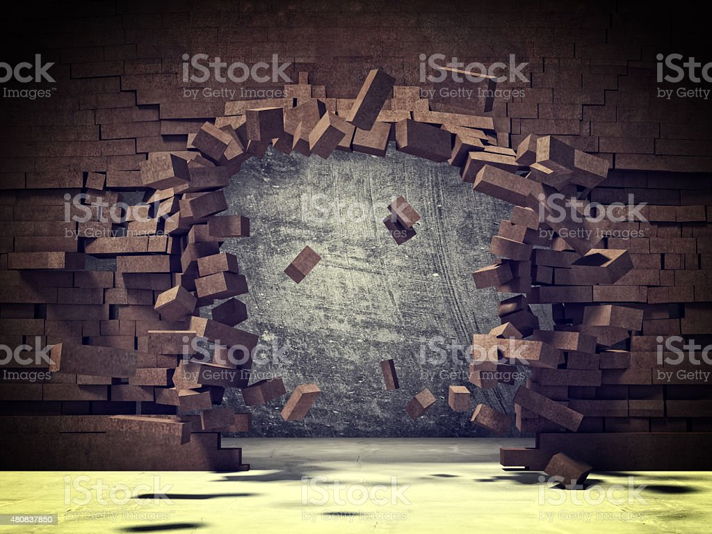 brick explosion stock photo