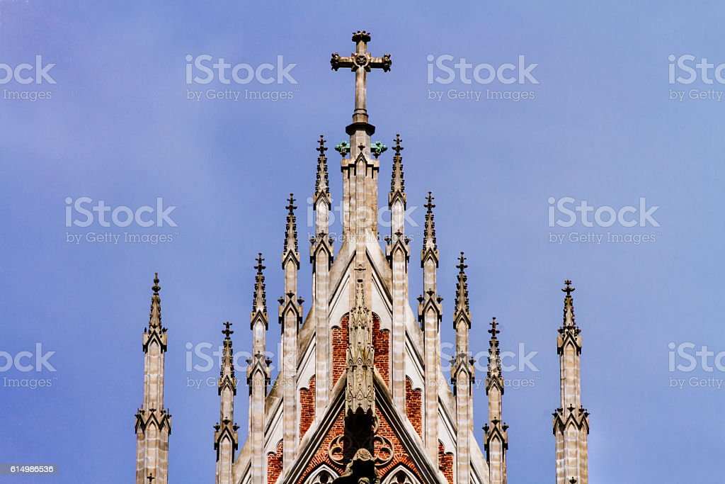 Brick facade of the Cathedral of La Plata, Argentina stock photo
