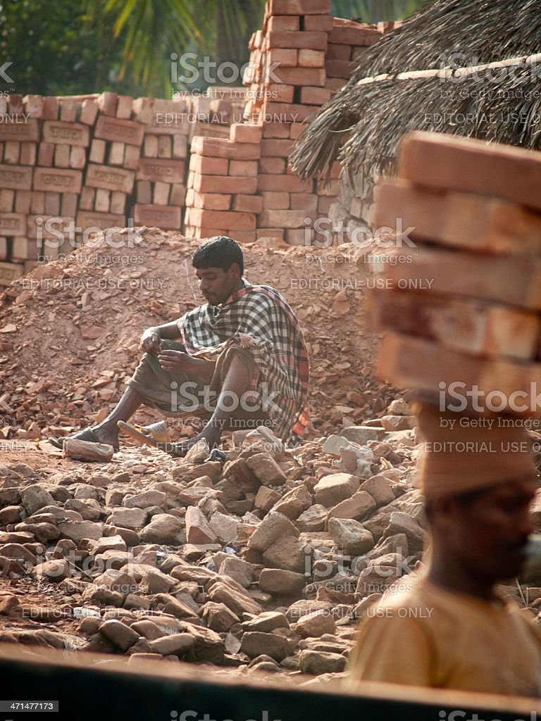 Brick factory in Bangladesh stock photo