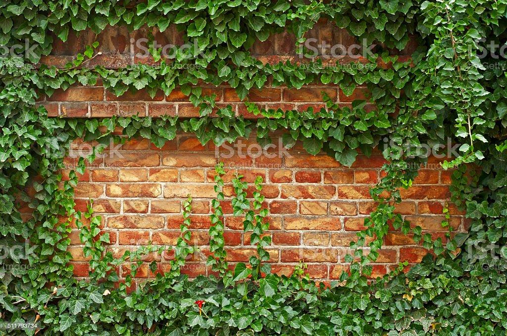 Brick Fence Green stock photo