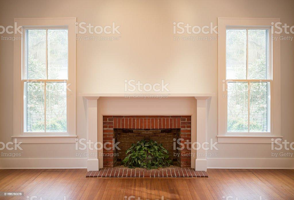 Brick Fireplace in Generic Room stock photo