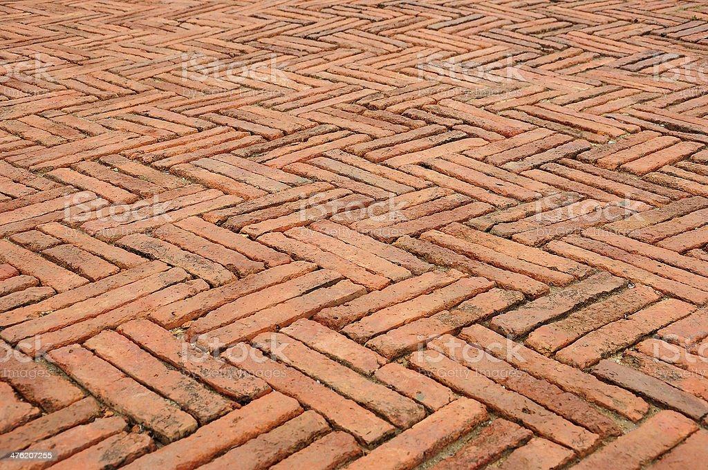 Brick Floor Orange, Pattern stock photo