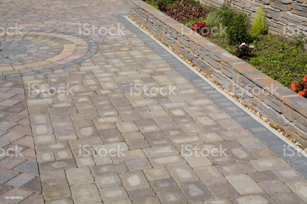 A brick garden path or driveway royalty-free stock photo