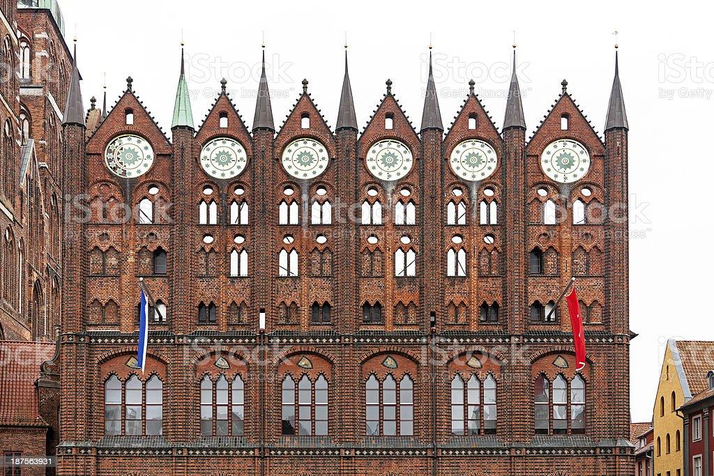 Brick Gothic city hall in Stralsund stock photo