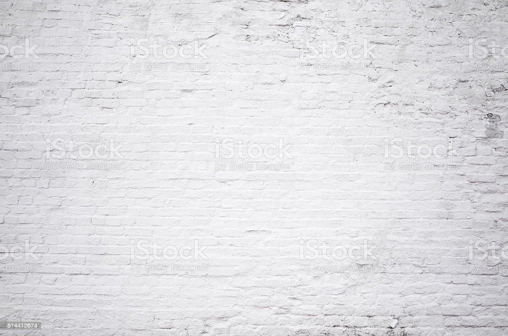 Brick grunge white painted crack wall texture background stock photo
