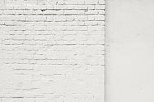 Brick grunge white painted old wall texture background