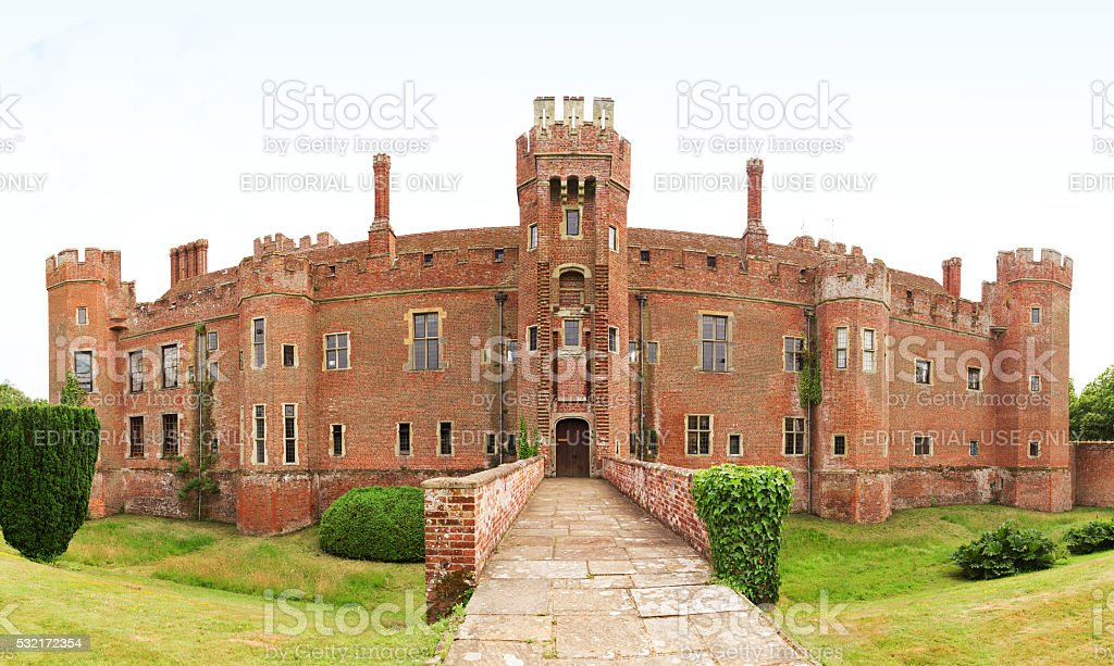 Hailsham, United Kingdom - July 16, 2015: Brick Herstmonceux castle stock photo
