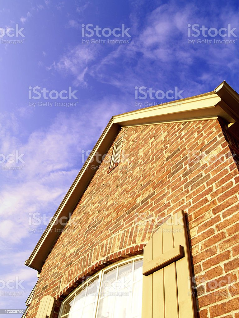 brick house with sky royalty-free stock photo