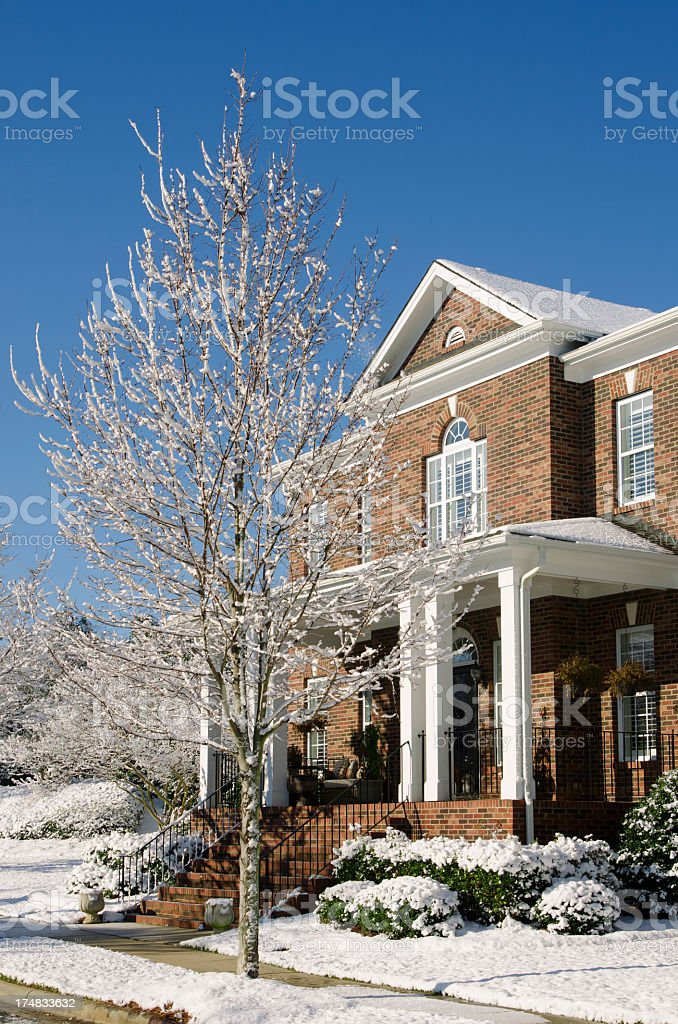 Brick House with Snow royalty-free stock photo