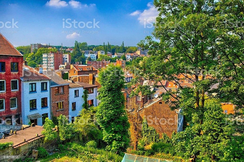 Brick houses in Liege, Belgium, Benelux, HDR stock photo