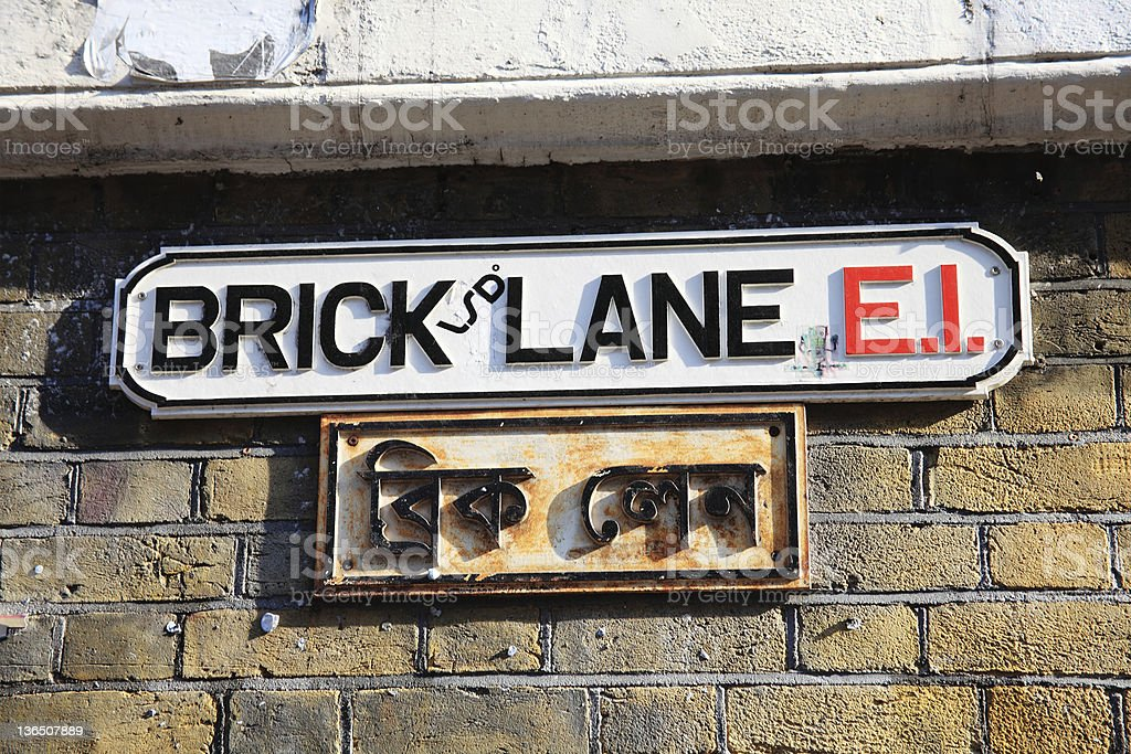 Brick Lane Road Sign stock photo