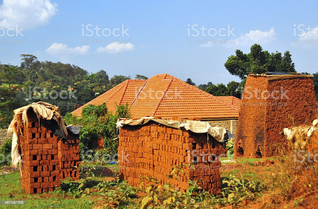 Brick making in Africa royalty-free stock photo
