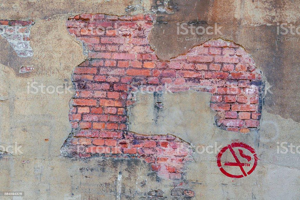 Brick masonry with inscription smoking. stock photo