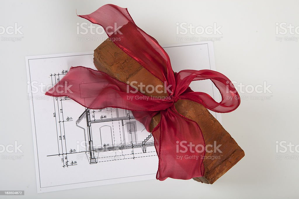 Brick on house plans royalty-free stock photo