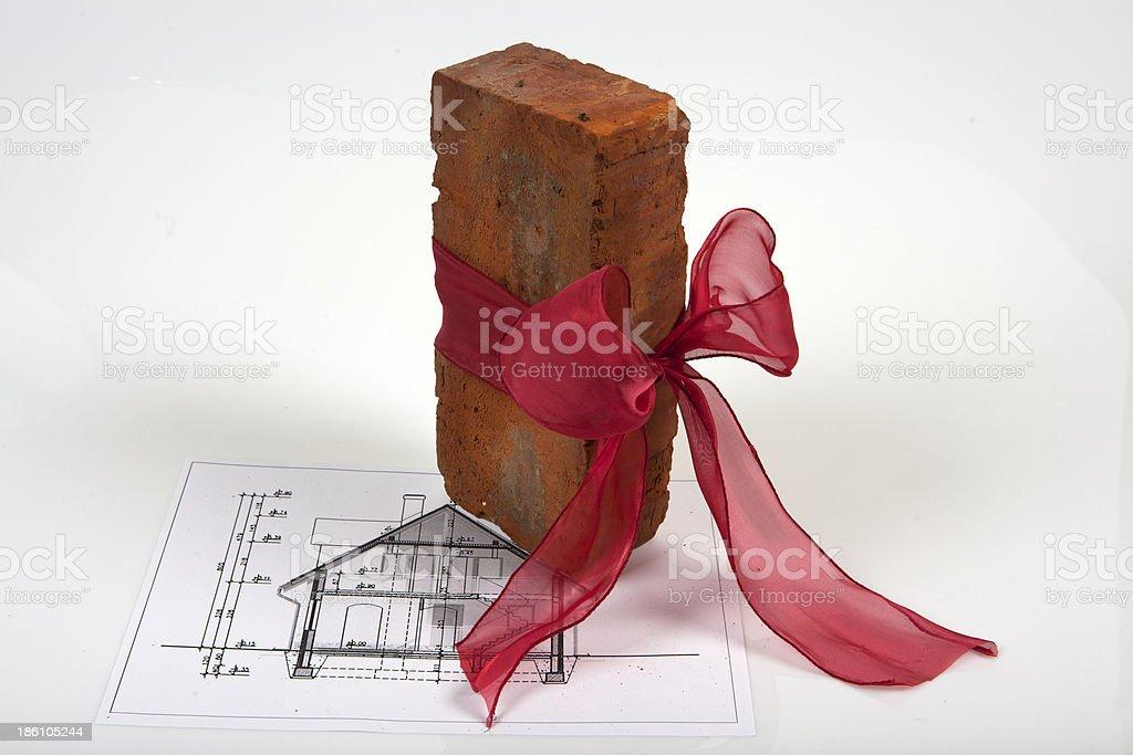 Brick on house plans royalty-free stock photo