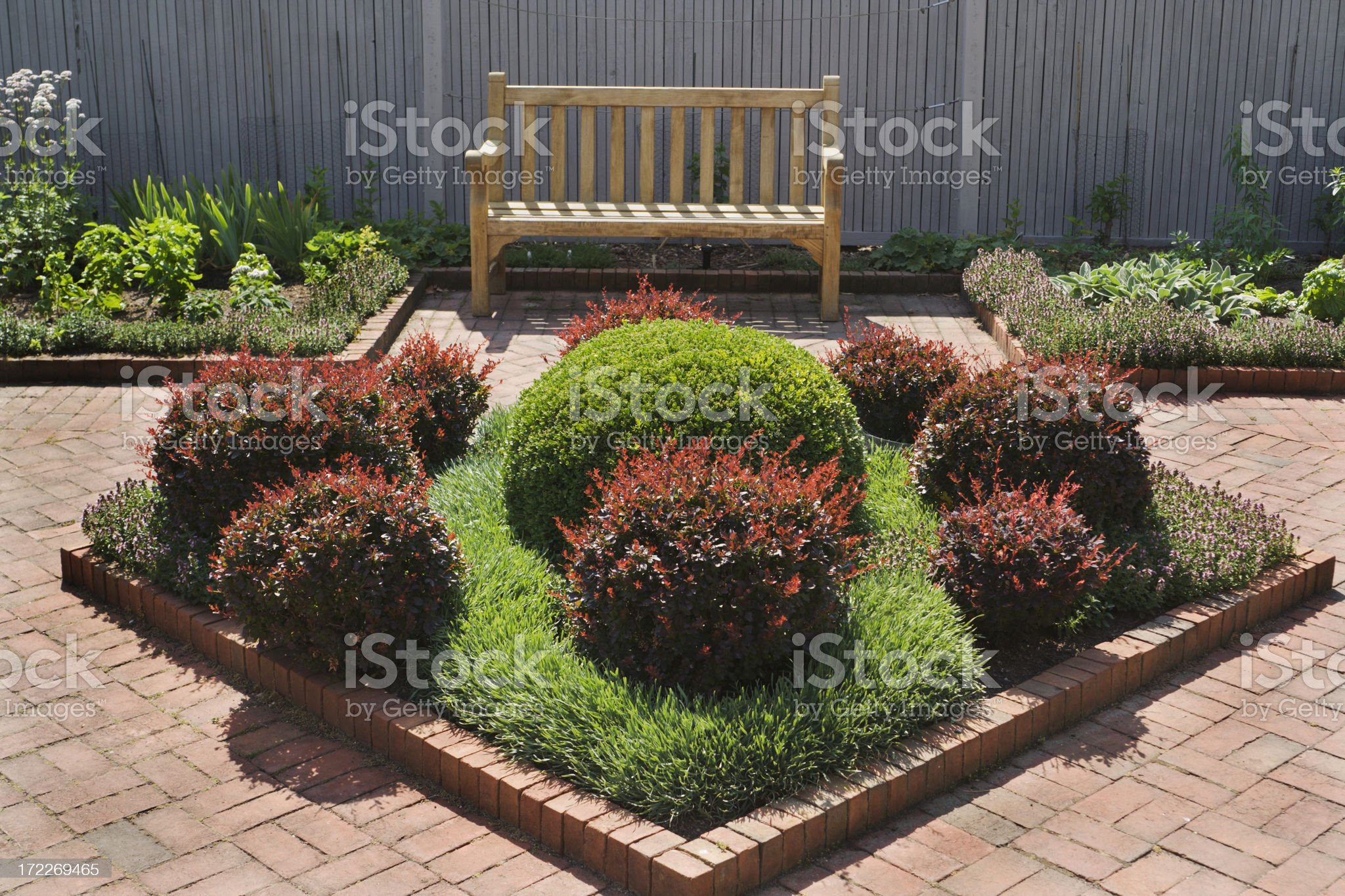 Brick Patio in Yard with Formal Garden and Flower Beds royalty-free stock photo