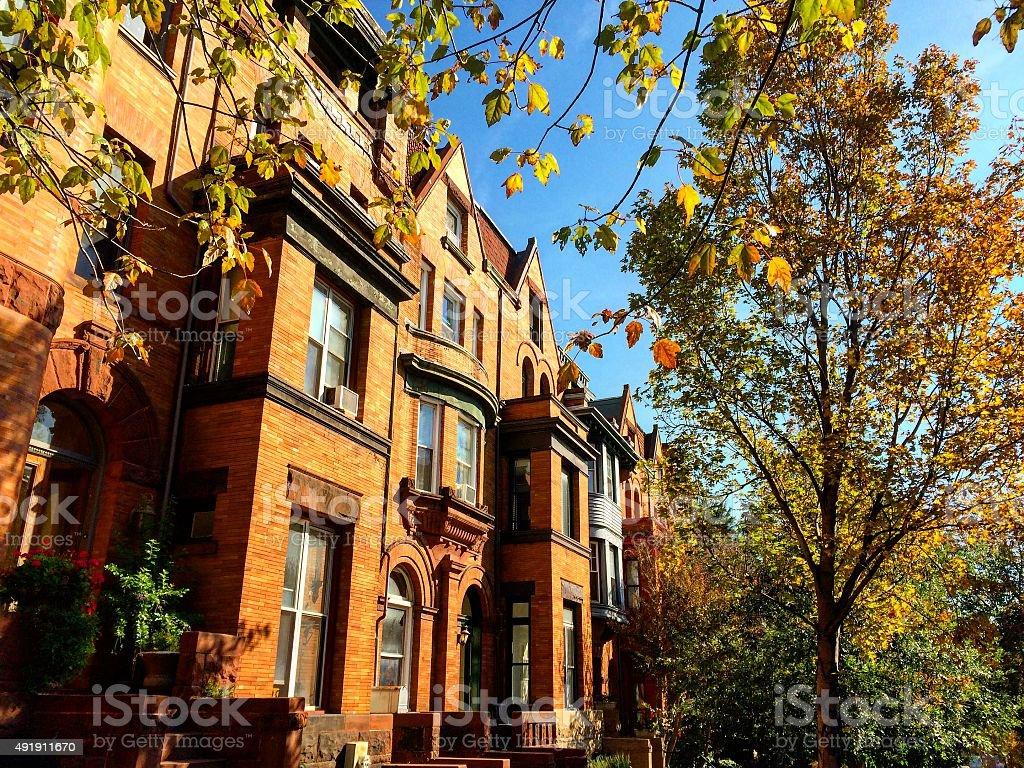 Brick rowhouses in Washington, DC stock photo