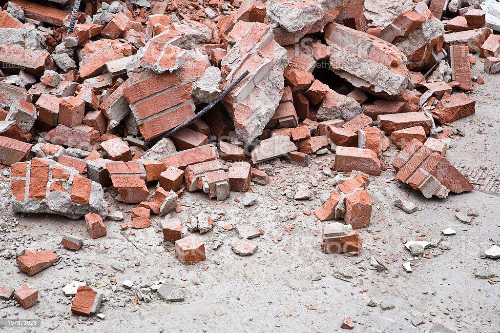 Brick rubble stock photo