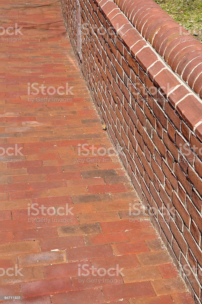 brick sidewalk and wall royalty-free stock photo