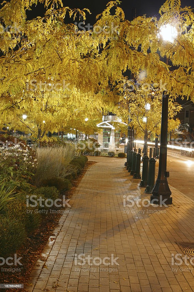 Brick Sidewalk At Night, Dayton, Ohio royalty-free stock photo