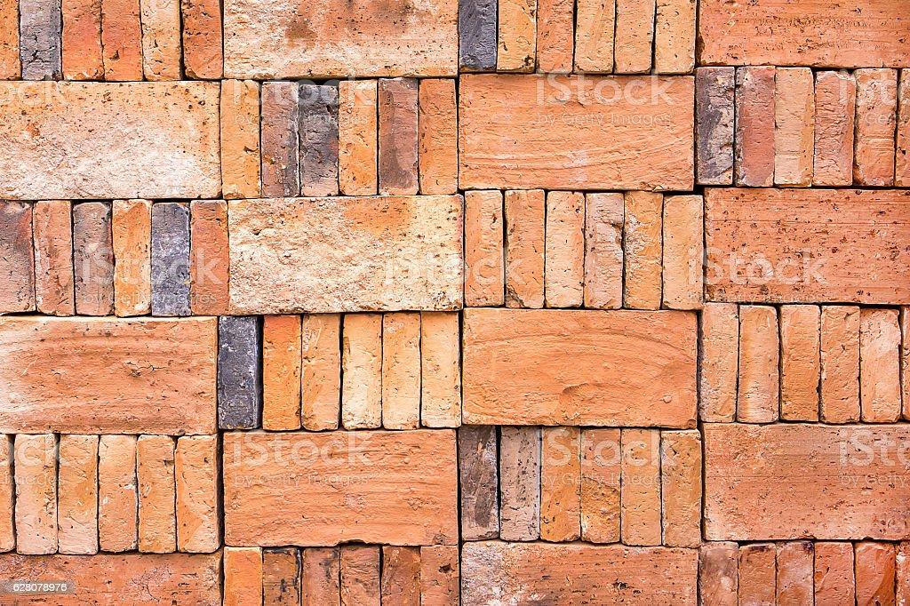 Brick stack texture background.Brick background stock photo