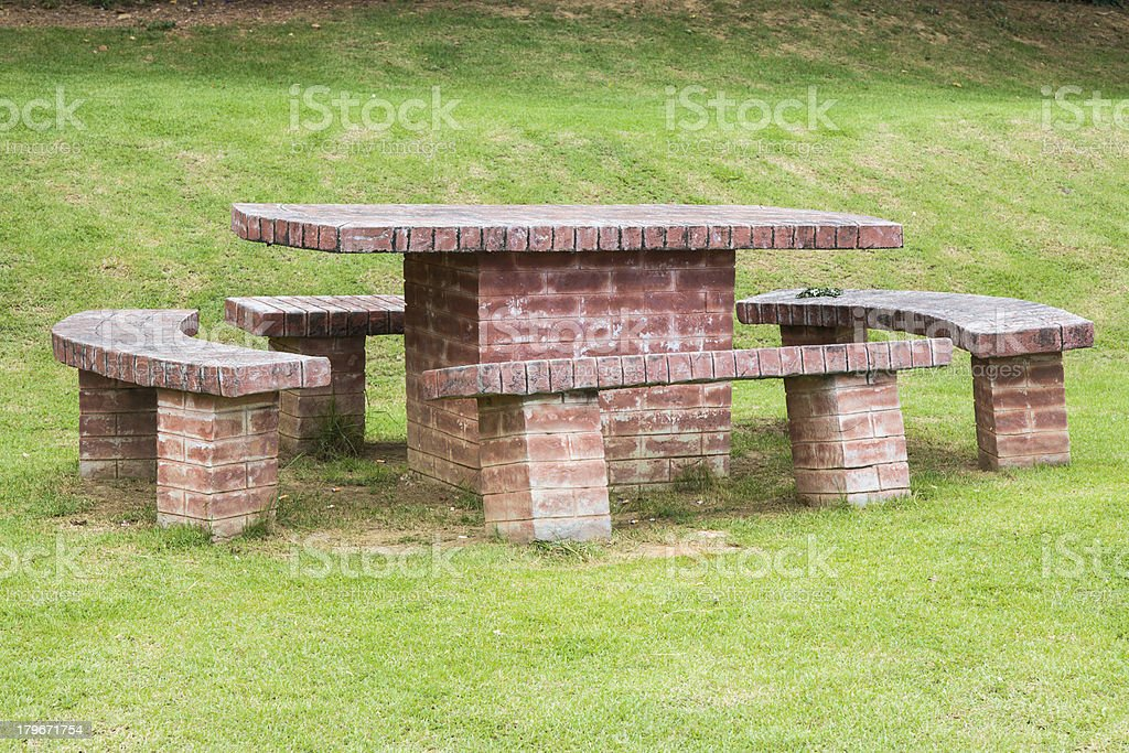 brick table and chairs royalty-free stock photo